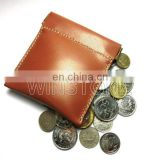 Metal Springer Clip Closure Waxy Leather with Coin Case