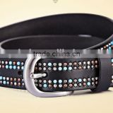 Fashion Unisex metal studded genuine leather belt in 28mm width of black col