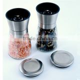 Gourmet Salt and Pepper Mill Set Stainless Steel and Glass Adjustable Manual Grinder
