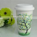 double wall cup for sublimation printable porcelain mug with silicon lid                                                                         Quality Choice
