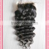 cheaper Deep wave silk top lace closure grade 5a lace closure unprocessed brazilian virgin human hair with baby hair