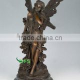Bronze elegant angel sculpture