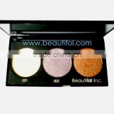 3 color high light eyeshadow, cosmetics wholesale glitter eye shadow pallette