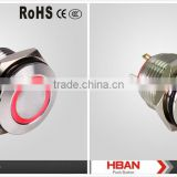 HBAN (16MM)Red ring illuminated, Flat switch or High switch, LED metal push button switch CE ROHS approved
