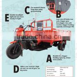5 Wheels diesel tricycle for cargo use 300cc diesel cargo tricycle China