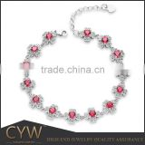 CYW Guangzhou jewelry factory fashion high quality red color zircon ss925 silver bracelets
