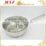 simple design stainless steel deep frying pan with glass lid and lines decor on body