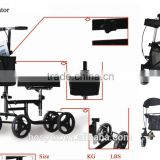 2016 latest USA style foldable knee walker rollator with basket