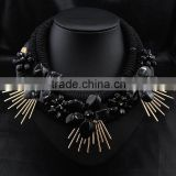 Black statement Fashion braided multi layered chain neckalce black resin flower alloy gold bars charm necklace