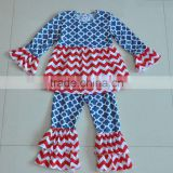 Wholesale baby girls clothes 4th of July clothing sets chevron long sleeve cotton boutique outfits