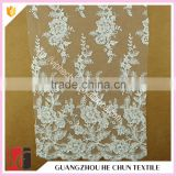 HC-5757-1 Hechun Mesh White Floral Sequin Beaded Latest Bridal Lace Fabric
