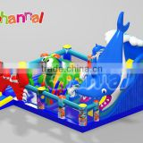 Specially giant shark designed inflatable obstacle course