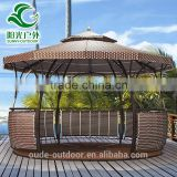 Hot sale outdoor garden gazebo PE rattan cover iron frame WPC floor outdoor garden gazebo tent                                                                         Quality Choice