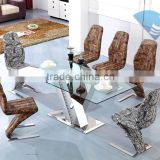 Popular Furniture Newest Design Modern Tempered Glass Table LV Shape Stainless Steel Leg Dining Table Set Party Table