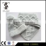 classical design professional factory fashion short winter knitted scarf hat attached sets