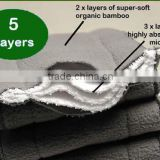 bamboo charcoal 5 Layers(3+2) insert with 2 layer super-soft organic bamboo and 3 layer highly absorbent microfiber