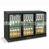 Undercounter black bar fridge with 3 glass door