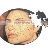 China Factory direct selling Sublimation MDF Jigsaw Puzzle Round Shape