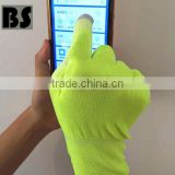 BSSAFETY factory price 2016 wholesale polyester or nylon knitted touch pu coated working safety gloves