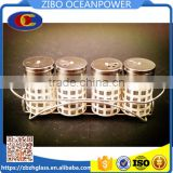 glass spice jar with metal coating and metal shelf 4pcs