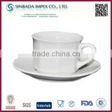 2015 popular white plain bulk tea cup and saucer sets