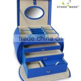Blue Four-layer Lint Faux Leather Mirror Jewelry Box With Drawers