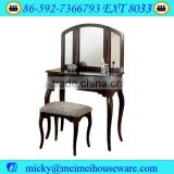 Furniture Queen Anne Style Cherry Finish Wood Vanity Set - Table, Bench & Mirror