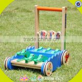 2017 New design walker wooden baby push toys cartoon crocodile wooden baby push toys W16E059