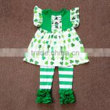 Boutique Children St. Patrick's Day Clothing baby girls shamrock 2 pcs clothes cute green clover tunic top and legging outfit