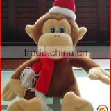 Cheap christmas day gifts cute stuffed soft plush monkeys with santa hat hand puppet toy wholesale