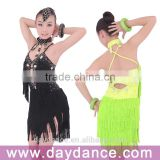 Professional Girls Kids Latin Dance Wear Children Fringed Latin Salsa Performance Dresses