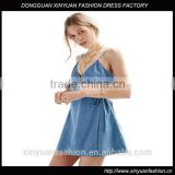 Apparel Denim Sexy Blue Plunge Neck Dress Spaghetti Strap Sashes Wrap Dresses Backless Sleeveless Street A-line Dress