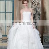 New Collected Simple Beaded Open back Sweetheart Neckline Organza Alibaba Wedding Dress Bridal