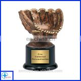 resin trophy with crystal base resin glove trophy for soft game