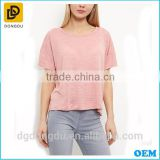 2016 New Fashion Made in China Comfortable Mid Pink Textured Slub T shirt