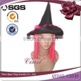 Funny halloween festival hat with pink fake hair attachmed