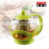 unique home plastic glass teapot ,colorful round glass teapot ,beautiful glass tea maker with infuser