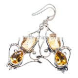 CITRINE EARRINGS ,925 sterling silver jewelry wholesale,WHOLESALE SILVER JEWELRY,SILVER EXPORTER,SILVER JEWELRY FROM INDIA