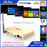 T8 PRO Android 5.1 TV Box KODI 16.0 2G/8G Amlogic S812 Set-Top Box With Dual-band 2.4G/5G WiFi Bluetooth 4.0 Smart TV Receiver                                                                         Quality Choice
