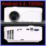 800 x 480 Pixels Latest Android 4.4 Wifi Connection Smart Android TV Box Projector