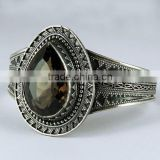 Attractive Smokey Cut Stone With Beautiful Silver Bangle, 925 Handmade Silver Jewelry Wholesaler, Gemstone Silver Jewelry