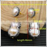 LFD-05E Newest Druzy 24k Gold Pave Rhinestone Crystal Pearl Stud Earring / Drop Earrings Jewelry Making