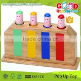 EU Standard Solid Wood Made Pop Up Toy Colorful Wooden Baby Toy for Sale