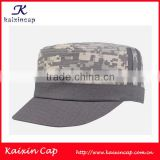 oem grey camo flat top cap military hat with custom print or embroidery logo/custom flat top cap with leather strape back closer