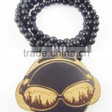 Men's DJ good Pendants Fashion Wood Hip Hop Rosary Chain Beads Necklaces