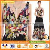 OEM Service Women Sexy Double V-Neck Floral Printed Chiffon Maxi Dress Long Dress Wholesale