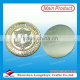 Custom zinc alloy silver and gold plated badge coin manufacturer,football club metal 3D coin with your own design