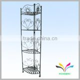 Hot-sale antiqued classical 4 tiers black metal wire floor type colorful decoration wall shelf                                                                         Quality Choice