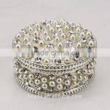 Fashion silver pearl jewelry box,sweet heart crystal metal jewelry box,for ladies wedding gift