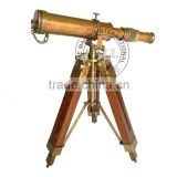 "BRASS TELESCOPE WITH STAND - 10"" ANTIQUE TELESCOPE WITH WOODEN TRIPOD STAND - NAUTICAL MARINE GIFT"